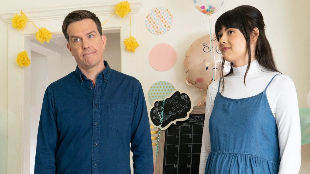 """Ed Helms and Patti Harrison in """"Together Together."""""""