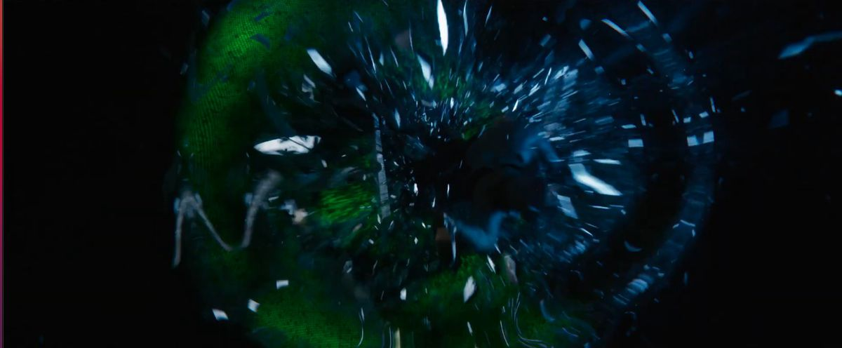 Two people jump shatter the Matrix in The Matrix Resurrections
