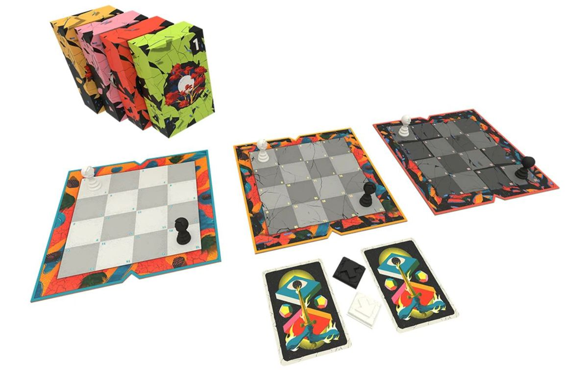 Three grids with Chess pawns on each one, plus four packs of cards with colorful illustrations of broken glass on each one.